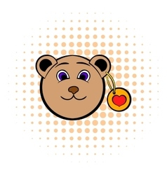 head a teddy bear with a heart label icon vector image