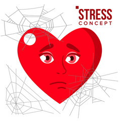 Heart covered in spiderweb cobwebs stress concept vector