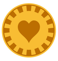 hearts suit gold casino chip vector image