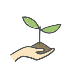 Human hand holding seedling in soil hand-drawn vector
