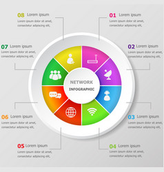 infographic design template with network icons vector image