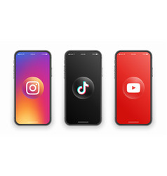 Instagram tiktok youtube logo on iphone screen vector