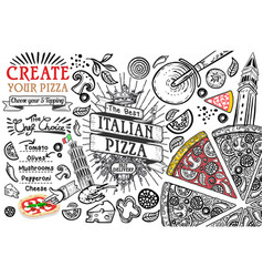 Italian food ingredients as pizza doodle vector