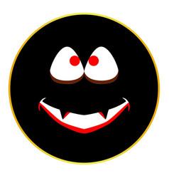 Jack o lantern smiley face button isolated vector