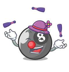 Juggling billiard ball mascot cartoon vector