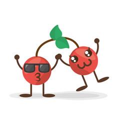 kawaii cherry friendly characters vector image