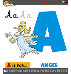 Letter a from alphabet with cartoon angel vector
