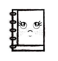 Line kawaii cute thinking notebook tool vector