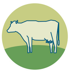 line silhouette standing cow vector image