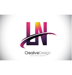 Ln l n purple letter logo with swoosh design vector