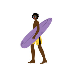 male surfer walking with surfboard african vector image