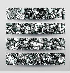 Medicine hand drawn doodle banners design vector