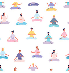 meditation people pattern women men doing yoga vector image