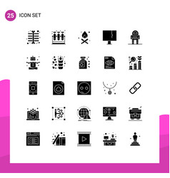 Modern set 25 solid glyphs pictograph space vector