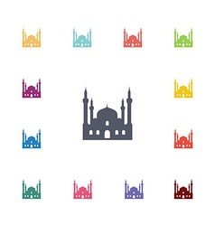 Mosque flat icons set vector