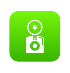 Oldschool camera icon green vector