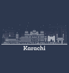 outline karachi pakistan city skyline with white vector image