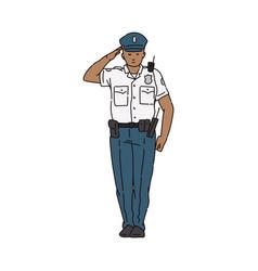 Policeman character in uniform saluting sketch vector