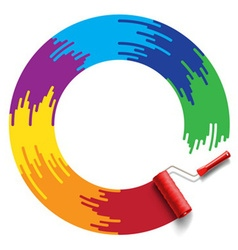 rainbow roller brush vector image