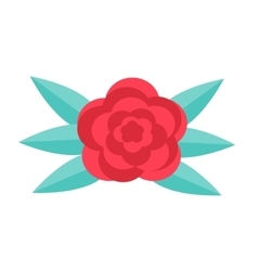 Red rose flat design Isolated on white vector