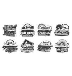 Retro car and race auto badges repair service vector
