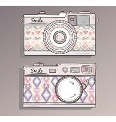 Retro photo cameras set vector