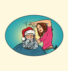 Santa claus at the barber vector