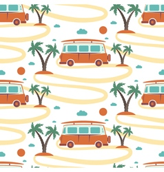Seamless pattern retro bus with surfboard in vector