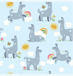 seamless pattern with cute lamas graphics vector image