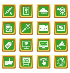 Seo icons set green vector