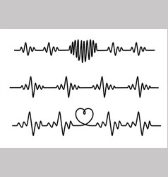 Set black cardiogram lines isolated on white vector