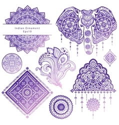 set ornamental indian symbols vector image