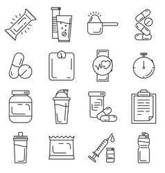 set sport and bodybuilding supplements vector image