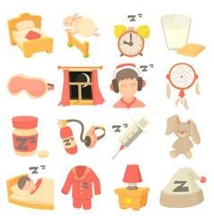Sleeping symbols icons set cartoon style vector