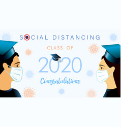 social distancing concept with students 2020 vector image