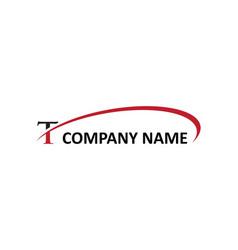 T letter swoosh logo vector