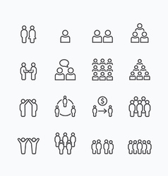 Team and business silhouette icons flat line vector