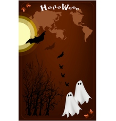 Two happy halloween ghost on full moon night vector