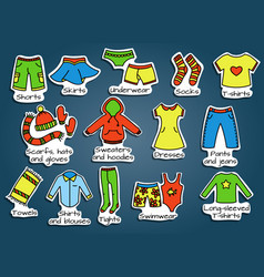 types of clothes icons vector image