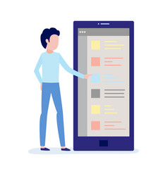 using mobile application concept with young male vector image