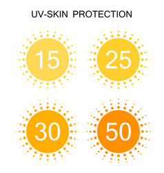Uv-protection sun sign icon collection set vector