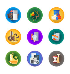 Various waste icons management set vector