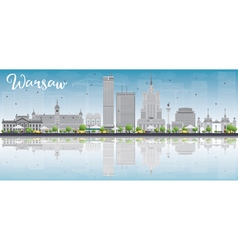 Warsaw skyline with grey buildings vector