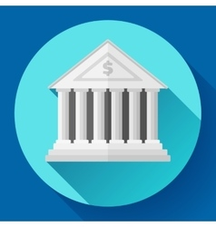 white bank building icon with long shadow Flat vector image