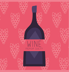 Wine premium quality poster with bottle and grapes vector