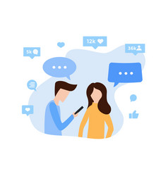 young man and woman communicate via internet app vector image