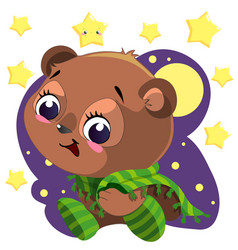 cute cartoon bear with blanket sitting in night vector image vector image