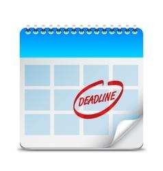 Deadline Word on Calendar vector image vector image