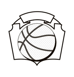 gray scale emblem with basketball ball vector image vector image