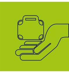 Hand hold suitcase business e-commerce icon vector